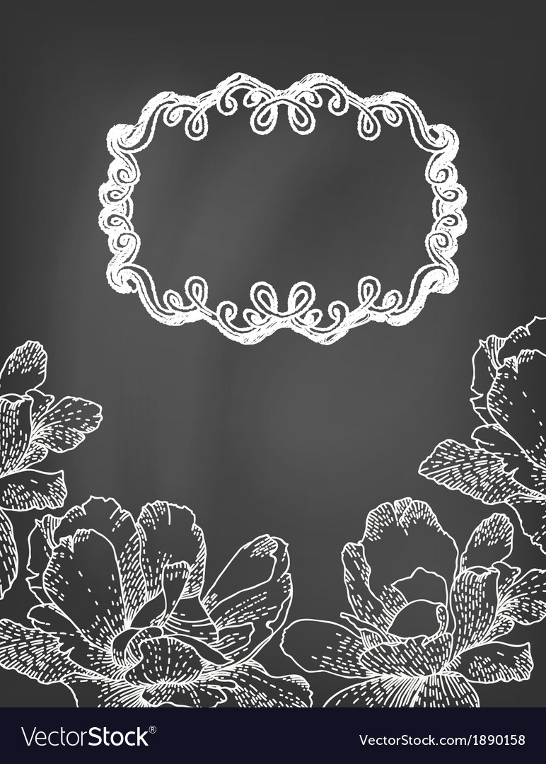Flowers and frame on chalkboard vector | Price: 1 Credit (USD $1)