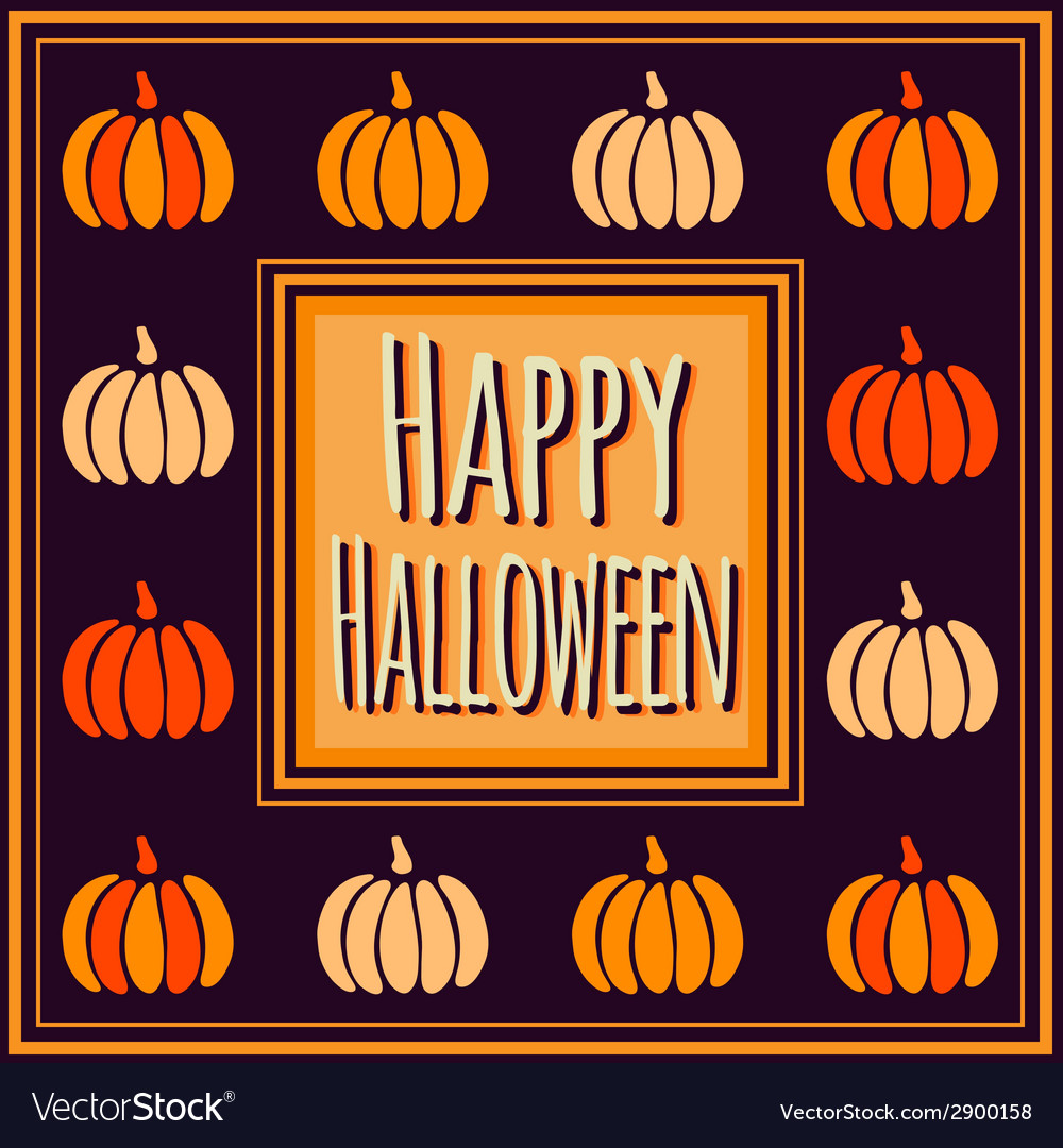 Halloween square frame with colorful pumpkins vector | Price: 1 Credit (USD $1)
