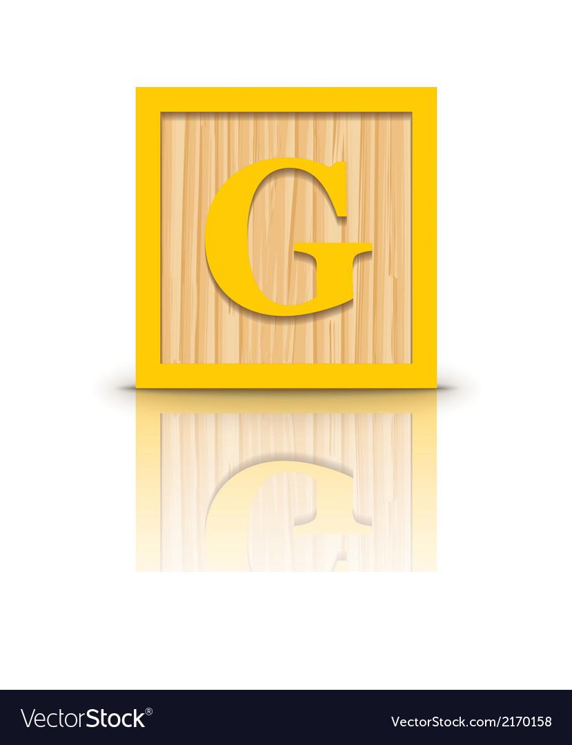 Letter g wooden alphabet block vector | Price: 1 Credit (USD $1)