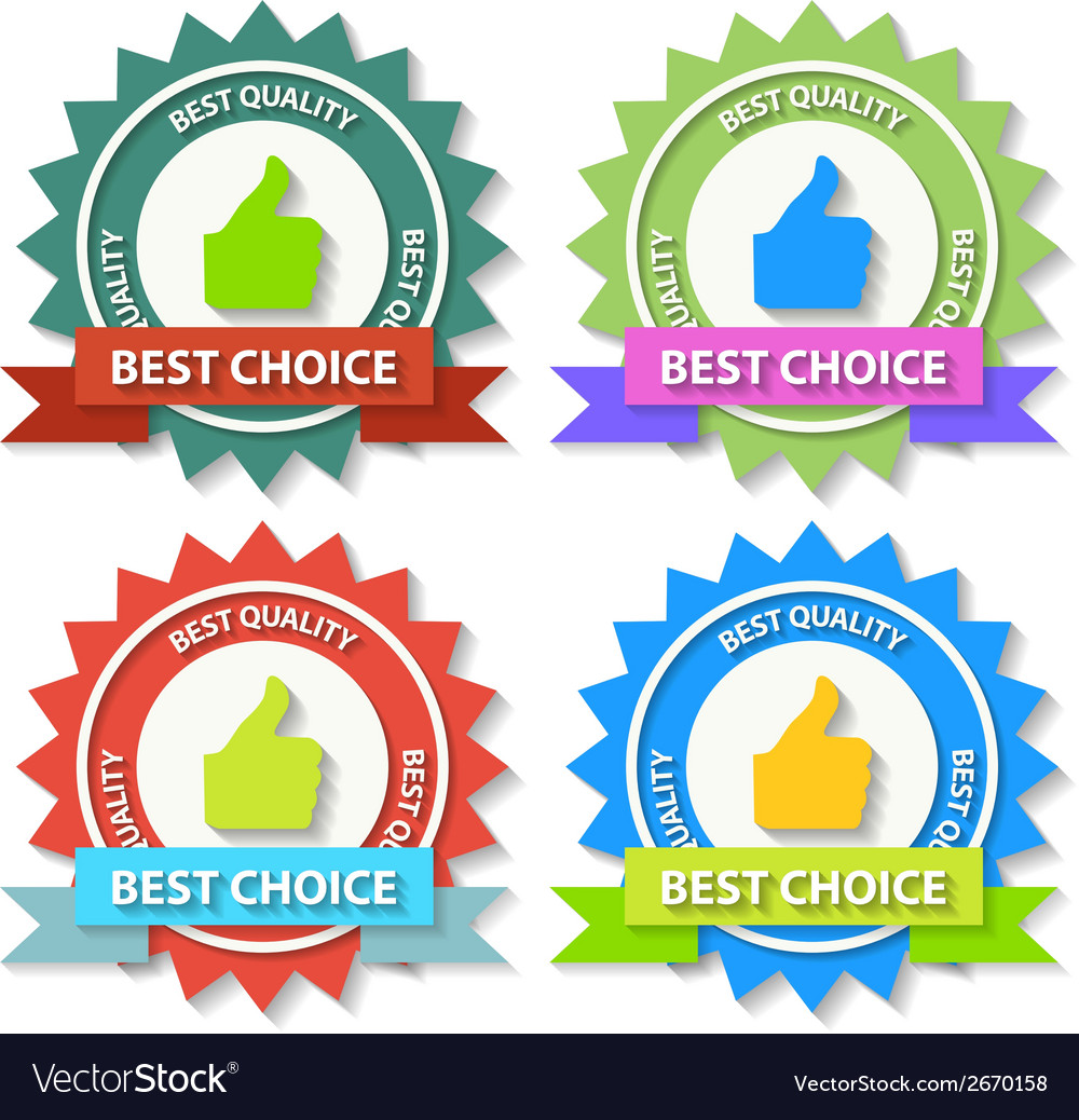 Set of flat best choice labels with ribbon vector | Price: 1 Credit (USD $1)