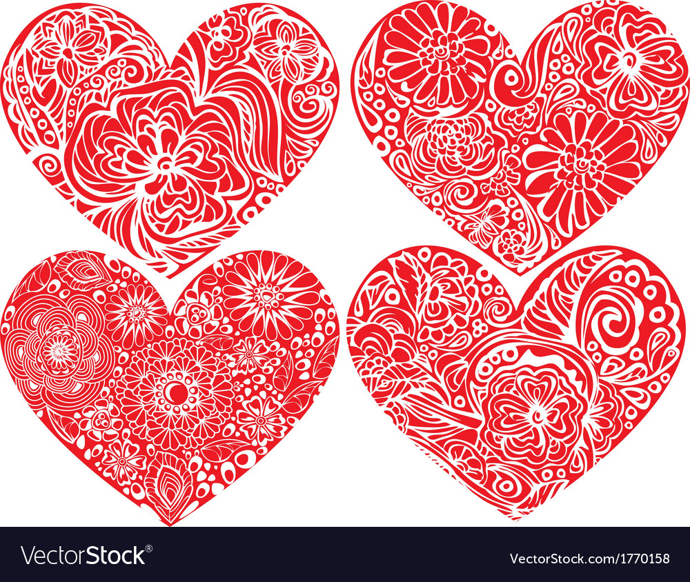 Set of hearts shapes with hand drawn floral orname vector | Price: 1 Credit (USD $1)