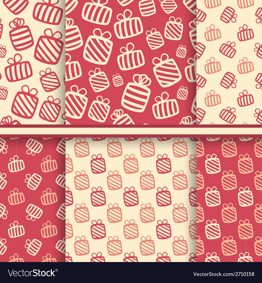 Set of seamless patterns with gift boxes vector | Price: 1 Credit (USD $1)