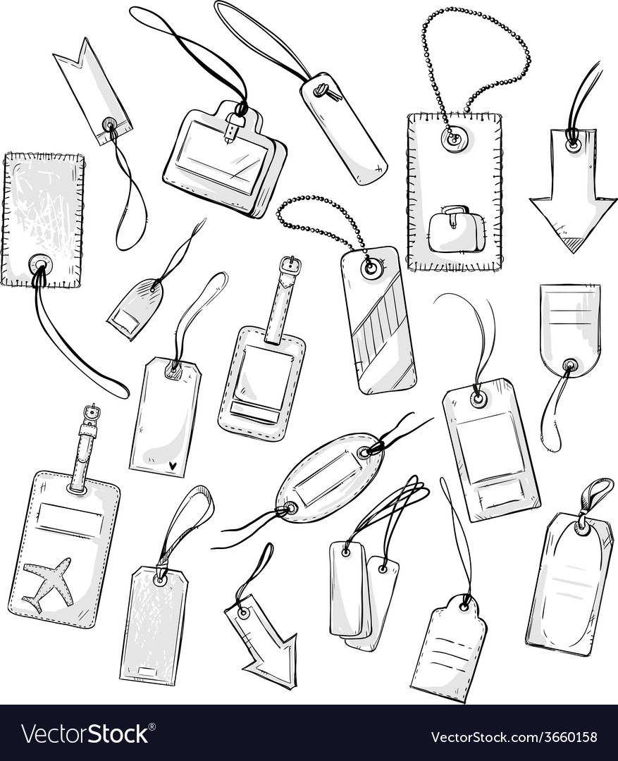 Set of various tags vector