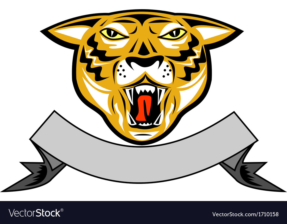 Tiger head growl head isolated vector | Price: 1 Credit (USD $1)