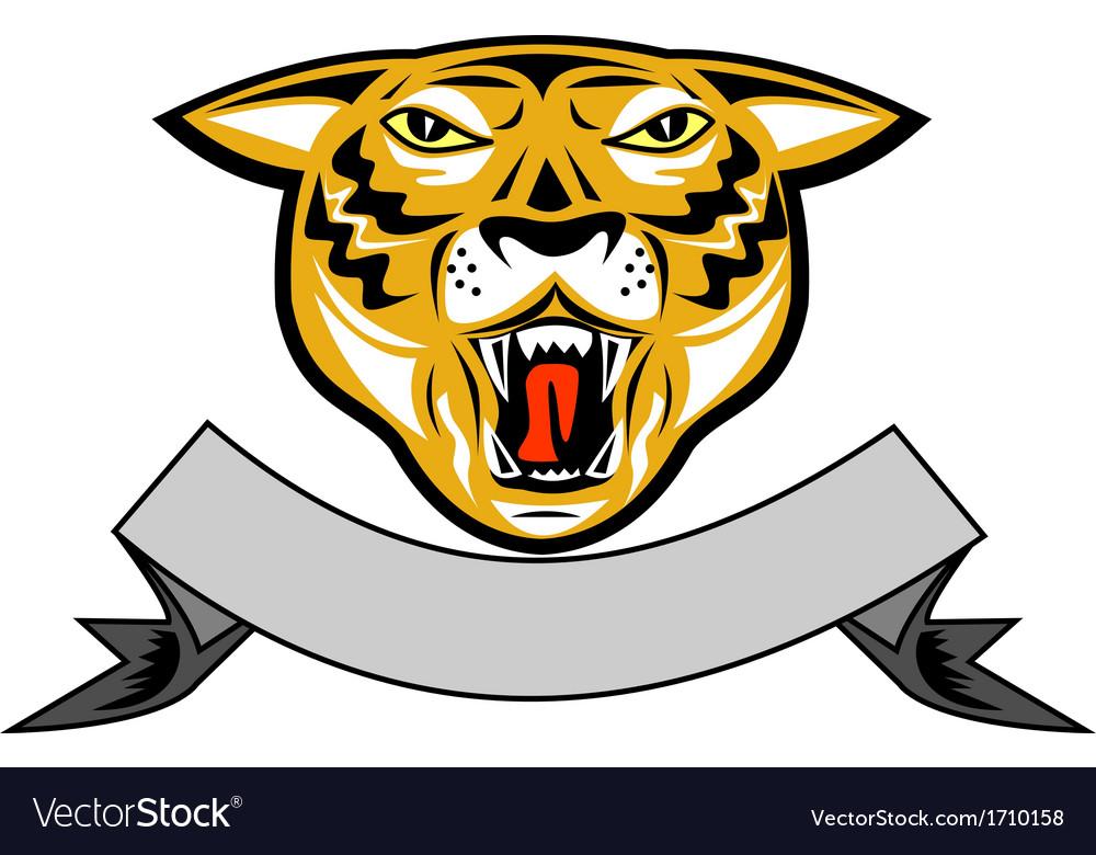 Tiger head growl head isolated vector