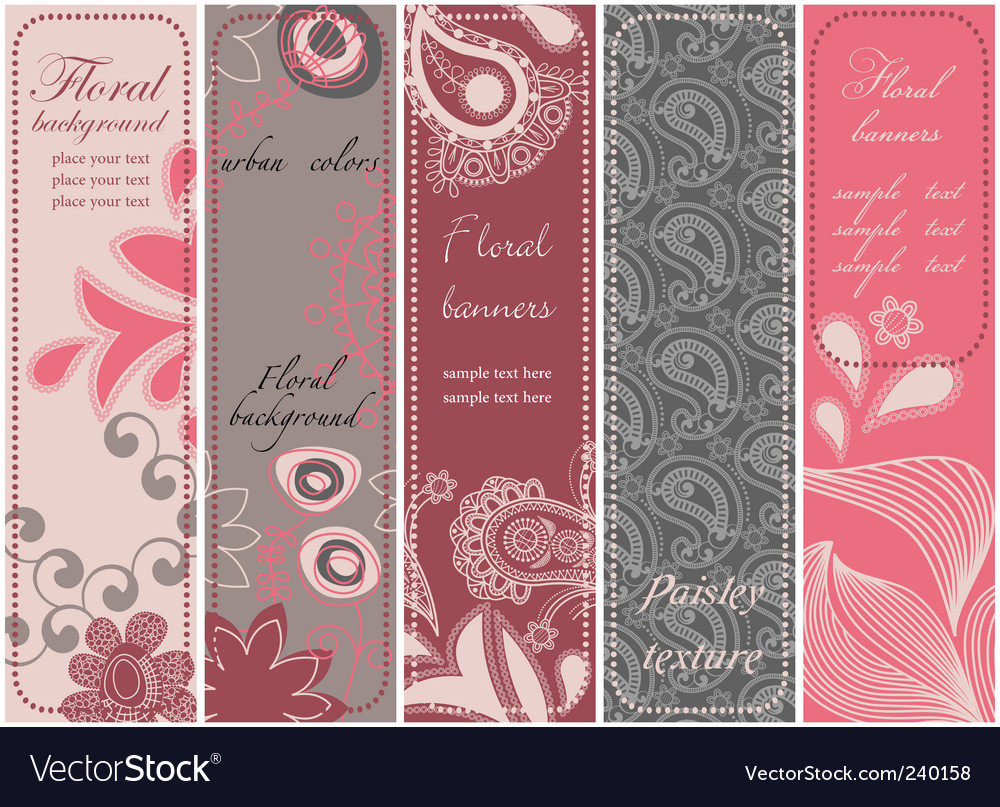 Vertical floral banners vector | Price: 1 Credit (USD $1)