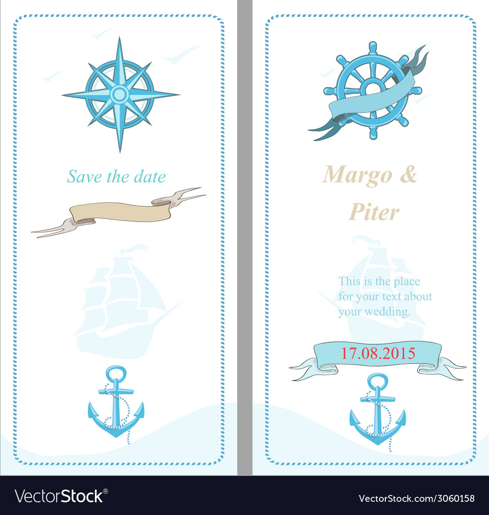 Wedding invitation template nautical style vector | Price: 1 Credit (USD $1)