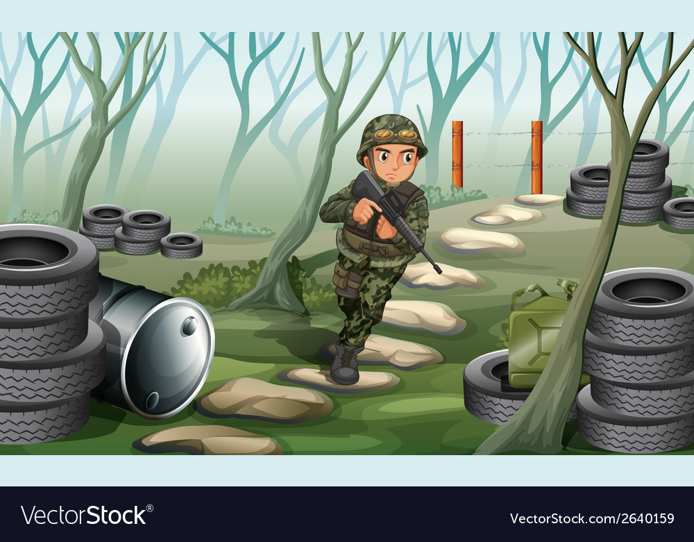 A soldier in the battlefield vector | Price: 3 Credit (USD $3)