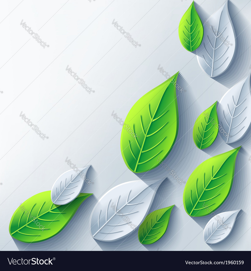 Abstract eco background with 3d leaf vector | Price: 1 Credit (USD $1)