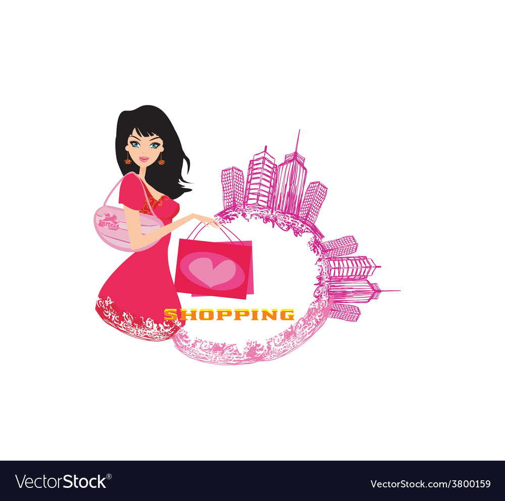 Fashion girl shopping - abstract vector | Price: 1 Credit (USD $1)