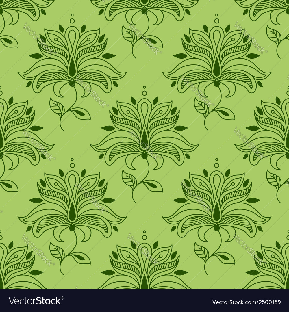 Green paisley seamless floral pattern vector | Price: 1 Credit (USD $1)