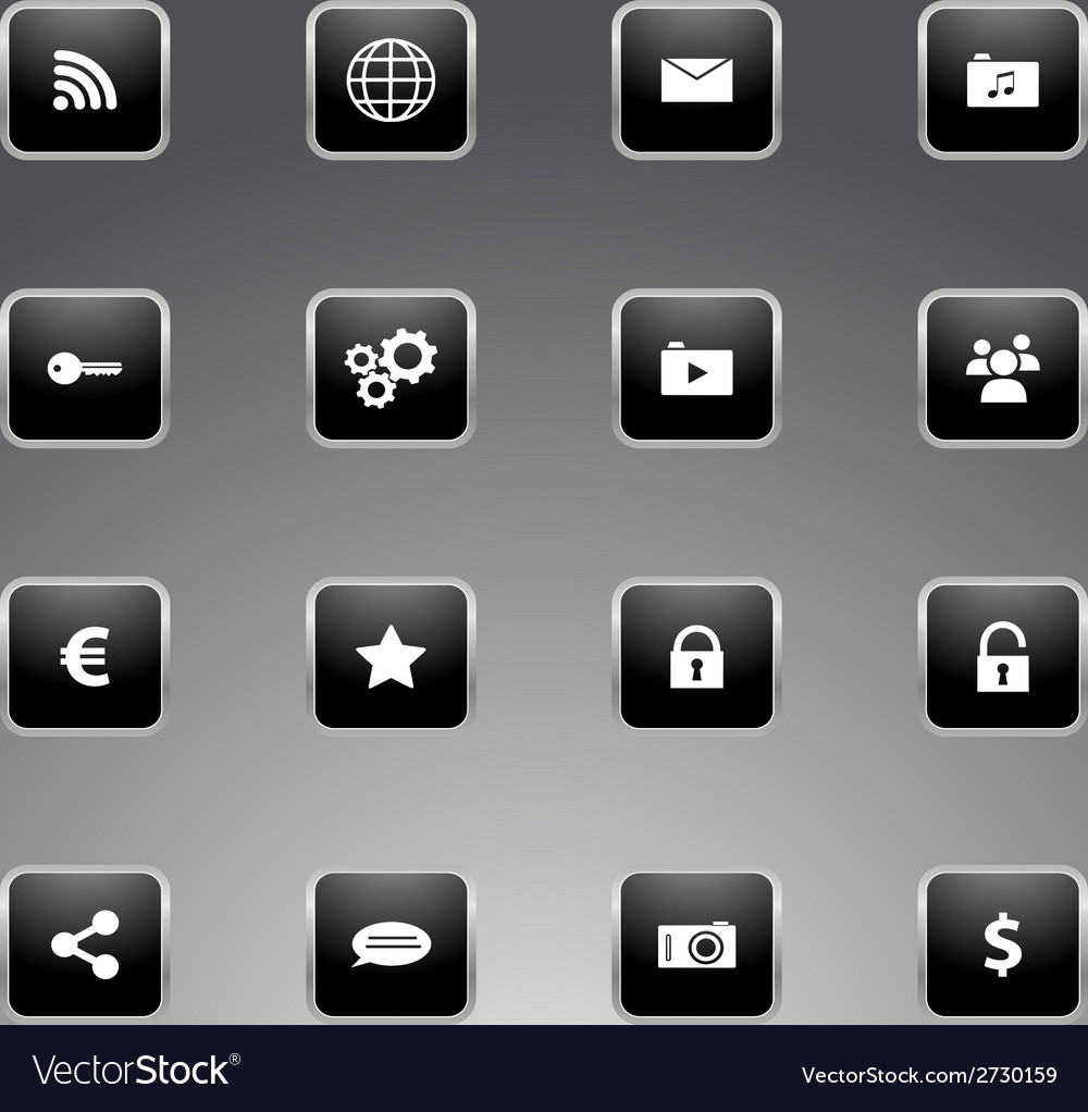 Set of black icons with silver outline vector | Price: 1 Credit (USD $1)