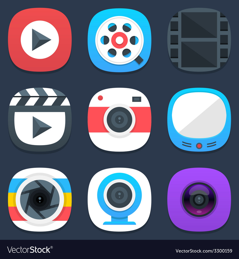 Set of camera photo and video mobile icons in flat vector   Price: 1 Credit (USD $1)