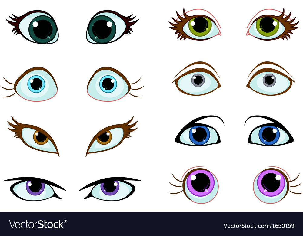 Set of cartoon eyes vector | Price: 1 Credit (USD $1)