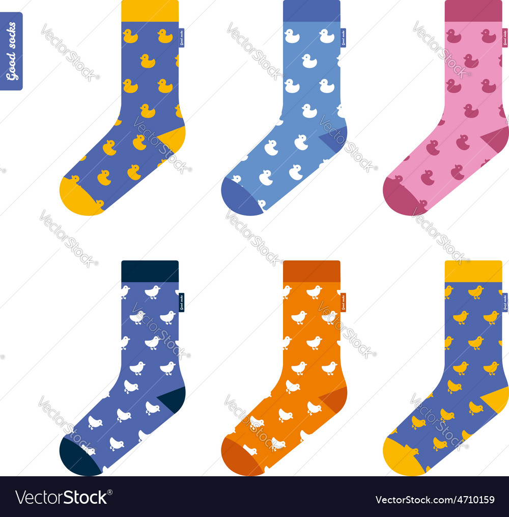 Set of socks with ducks original hipster design vector | Price: 1 Credit (USD $1)