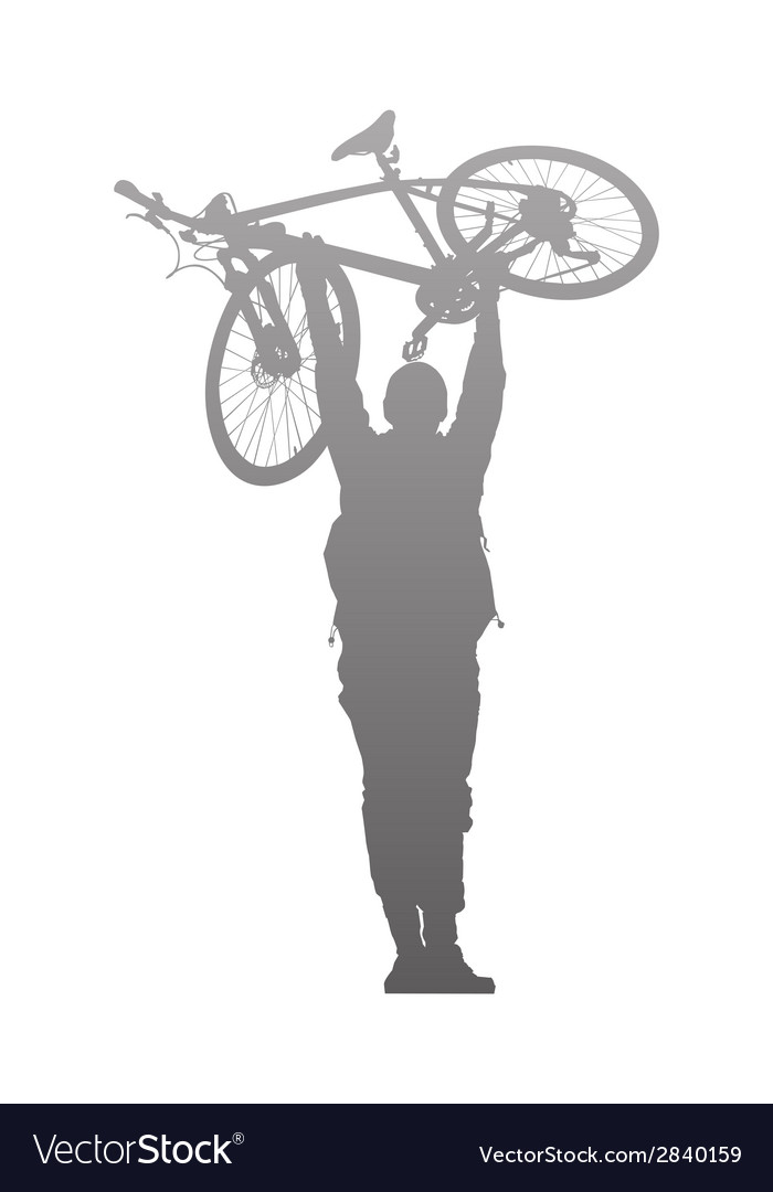 Silhouette of man to rise above a bike vector | Price: 1 Credit (USD $1)