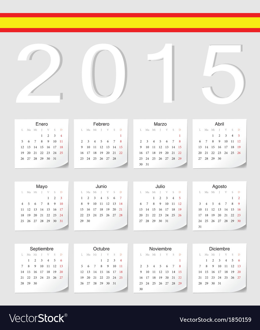 Spanish 2015 calendar with stickers vector | Price: 1 Credit (USD $1)