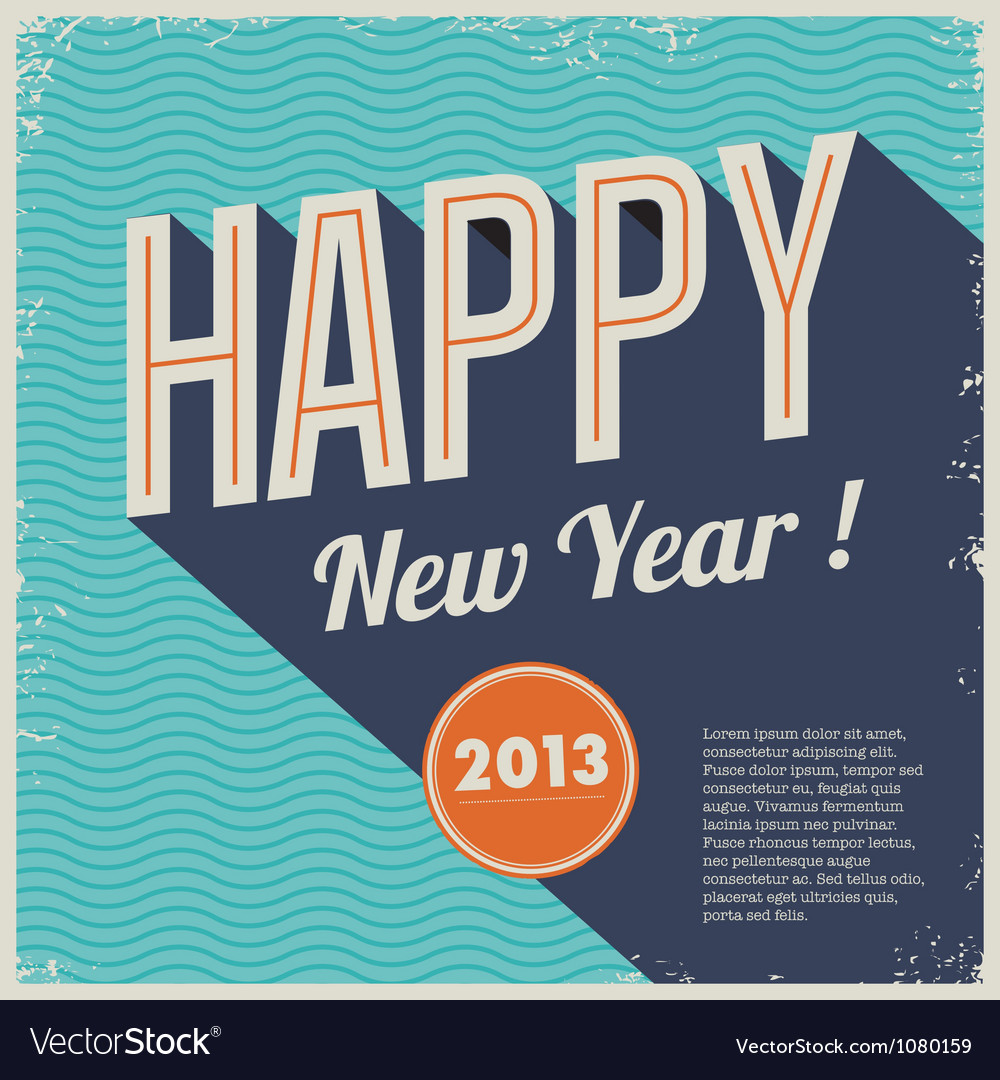 Vintage retro happy new year 2013 vector | Price: 1 Credit (USD $1)