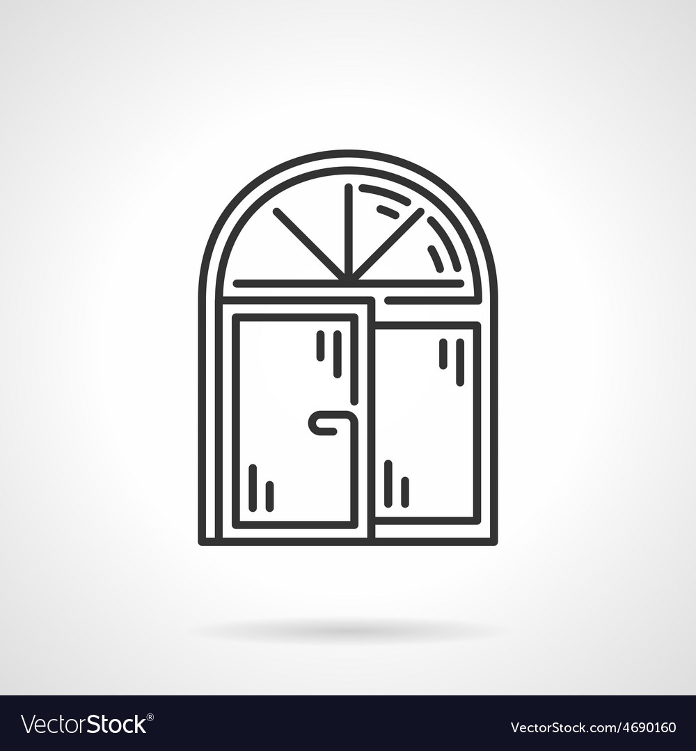 Arched window black line icon vector | Price: 1 Credit (USD $1)