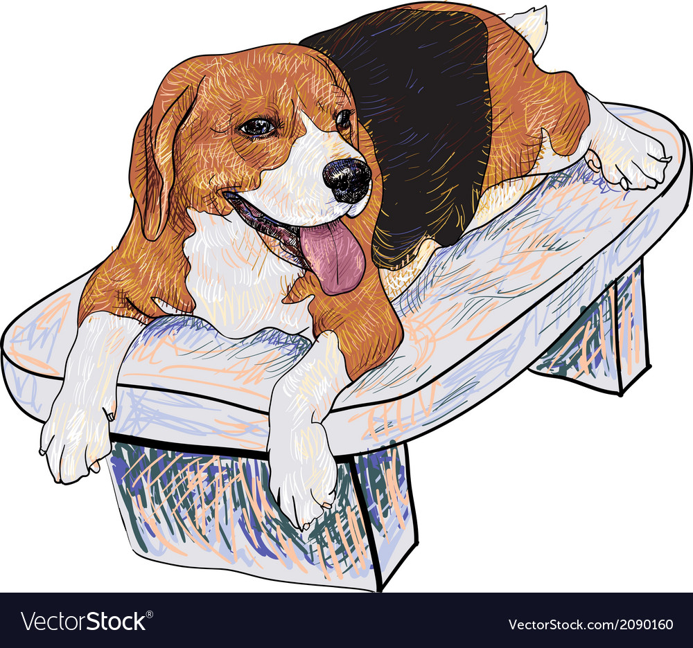 Beagle on chair vector | Price: 1 Credit (USD $1)
