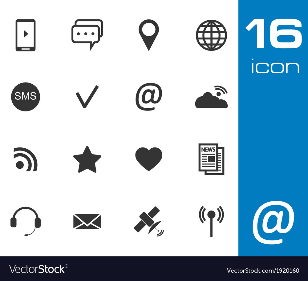 Black communication icons set on white background vector | Price: 1 Credit (USD $1)