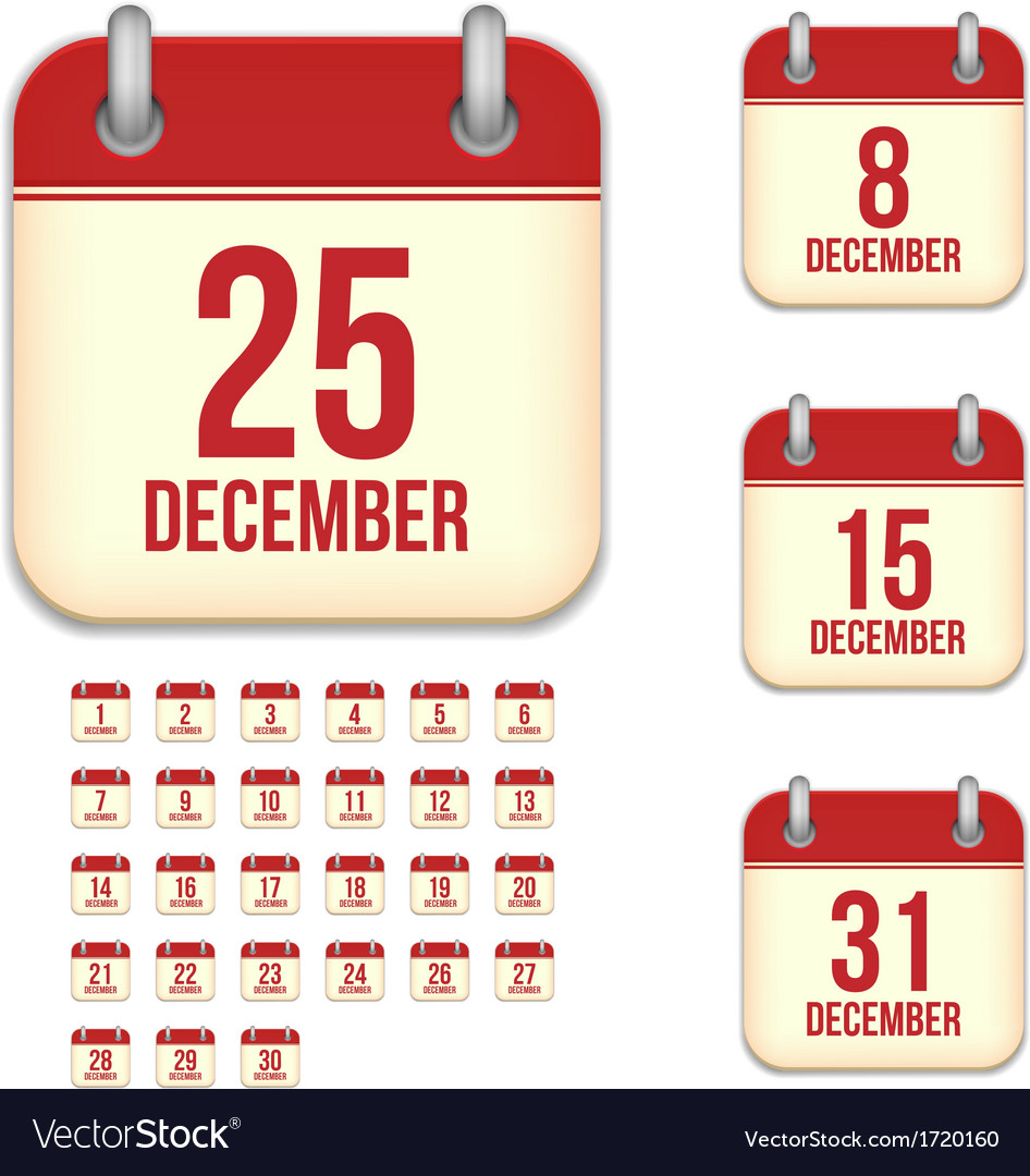 December calendar icons vector | Price: 1 Credit (USD $1)