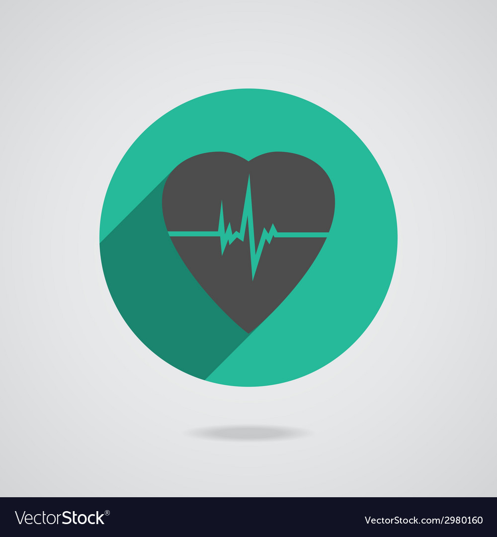 Defibrillator red heart icon isolated on yellow vector | Price: 1 Credit (USD $1)
