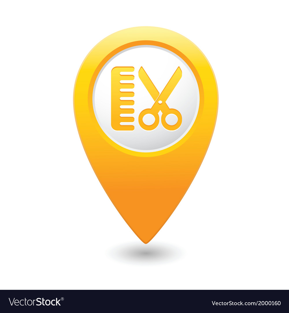 Hairdressing salon icon yellow map pointer vector   Price: 1 Credit (USD $1)