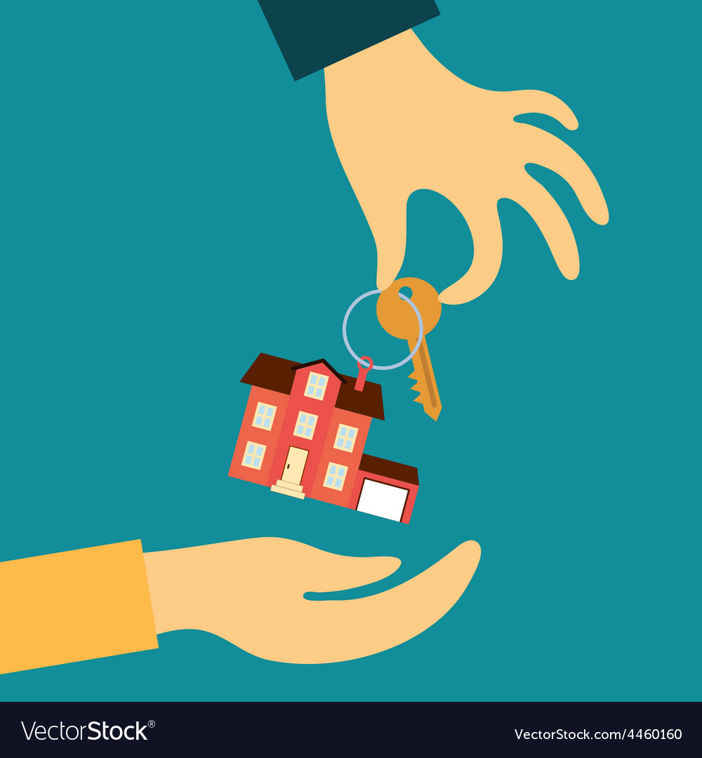 Hand real estate agent holding transmits a key vector | Price: 1 Credit (USD $1)