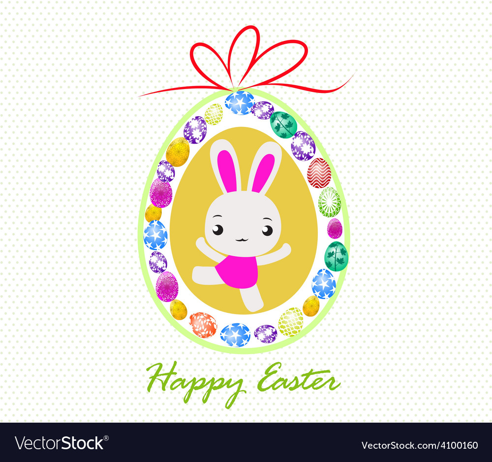 Happy easter card with eggs and rabbits vector | Price: 1 Credit (USD $1)