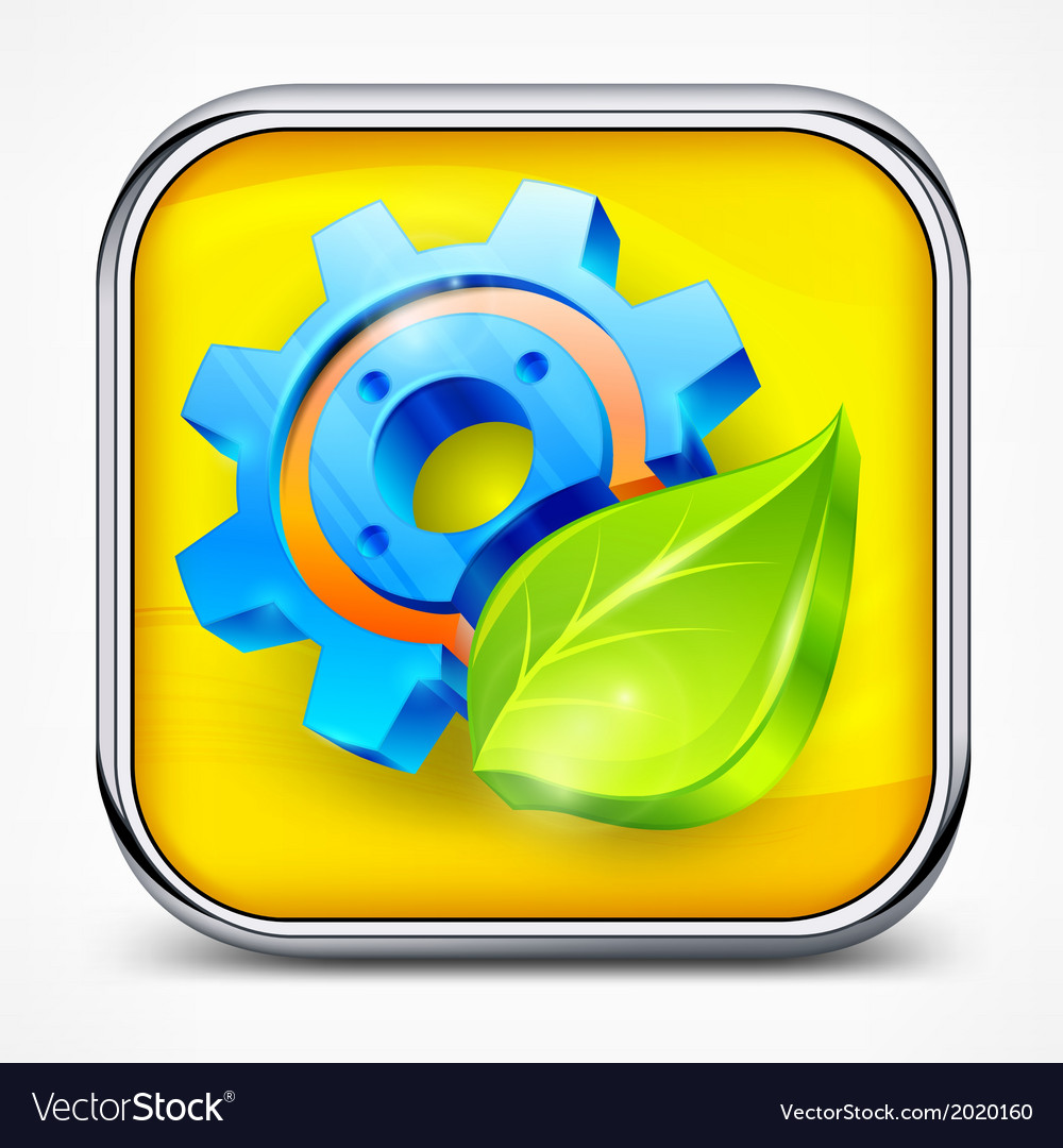 Icon with gear and leaf vector | Price: 1 Credit (USD $1)