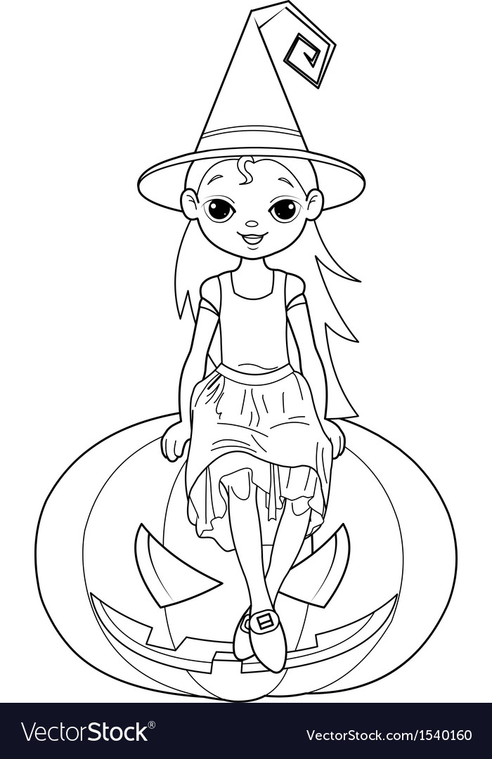 Little halloween witch coloring page vector | Price: 1 Credit (USD $1)