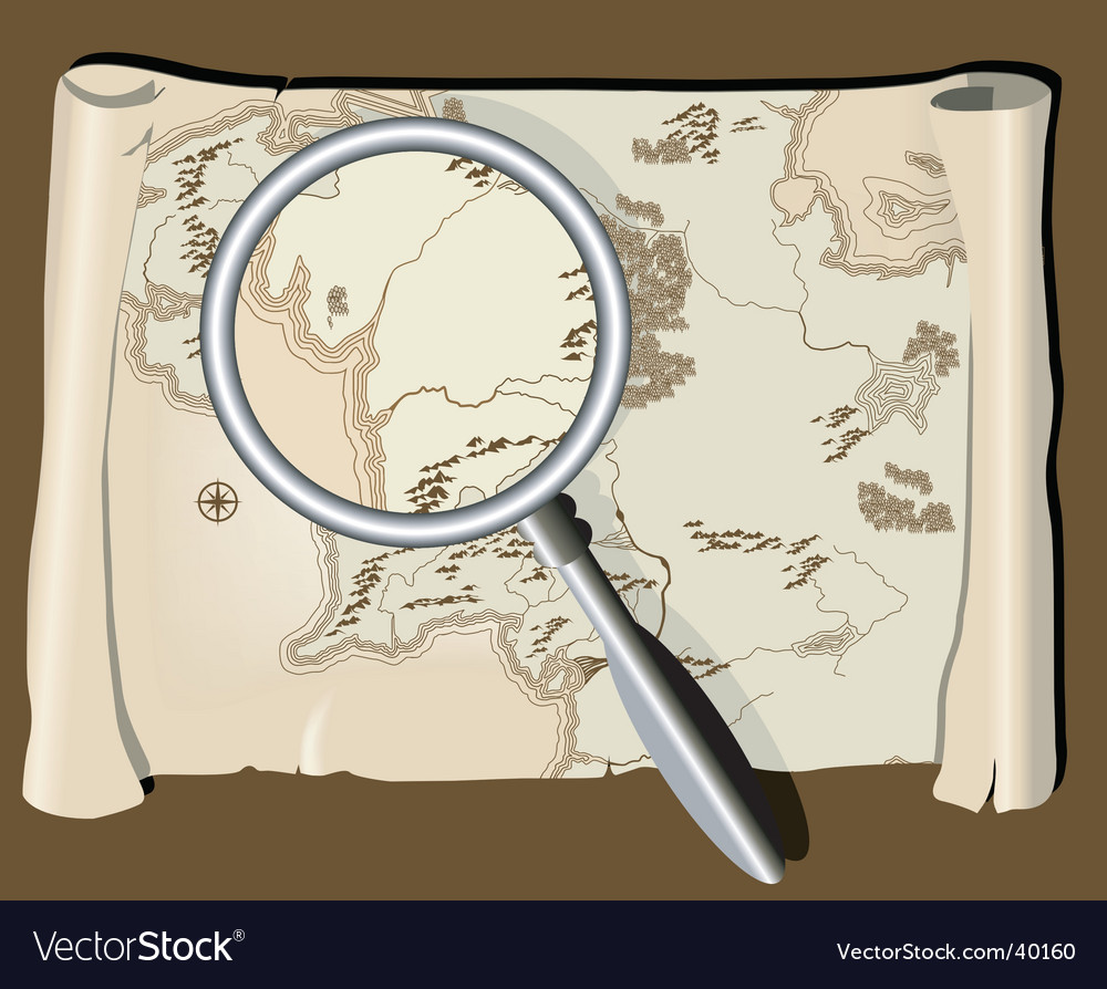 Map with magnifier vector | Price: 1 Credit (USD $1)
