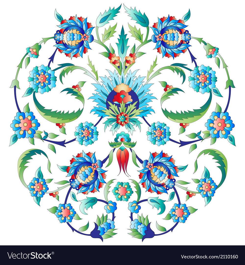 Ottoman art flowers seven vector | Price: 1 Credit (USD $1)