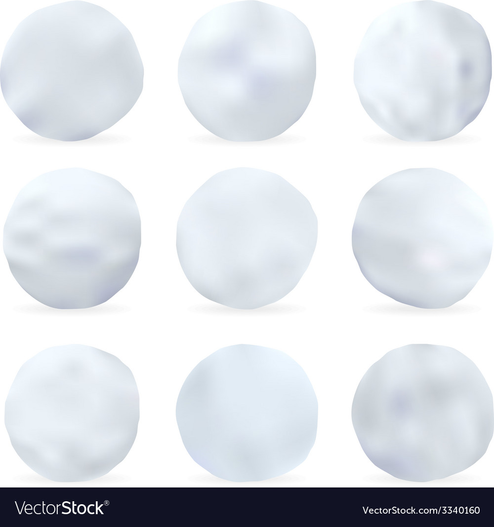 Set of snowballs isolated on white background vector