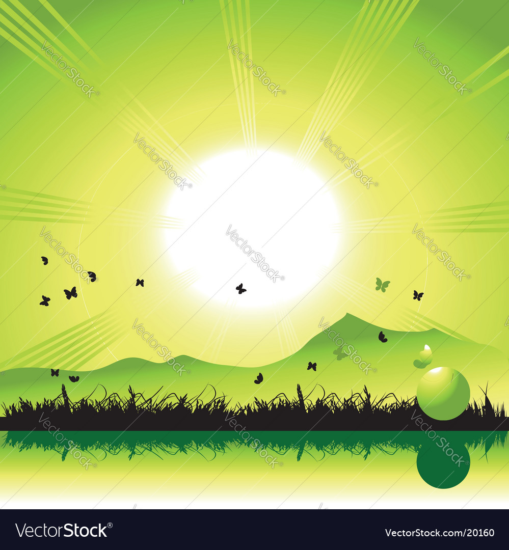 Sunset nature vector | Price: 1 Credit (USD $1)