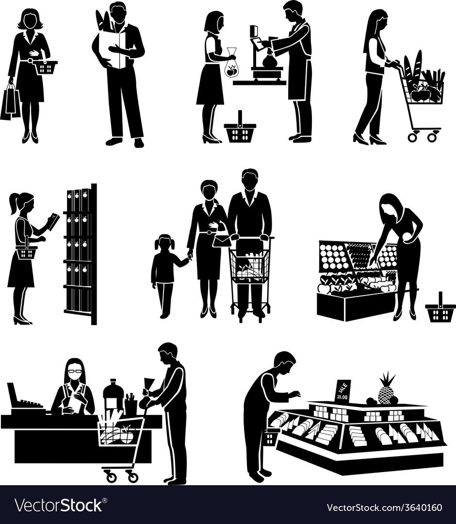 Supermarket people black vector | Price: 1 Credit (USD $1)