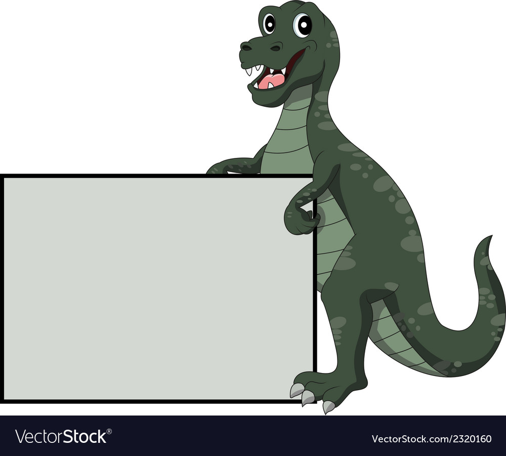 Tyrannosaurus rex holding blank sign vector | Price: 1 Credit (USD $1)
