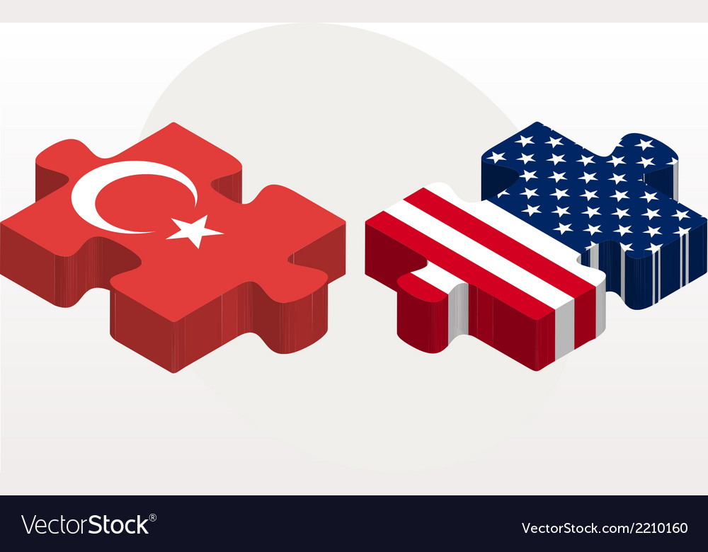 Usa and turkish flags in puzzle isolated on white vector | Price: 1 Credit (USD $1)