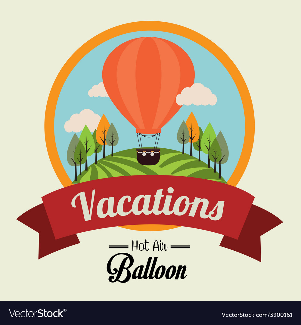 Air balloon over beige background vector   Price: 1 Credit (USD $1)
