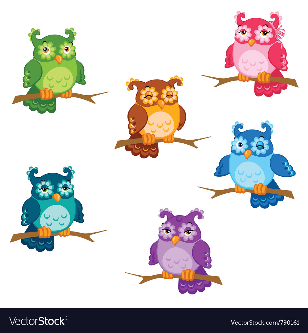 Cartoon owl set vector | Price: 1 Credit (USD $1)