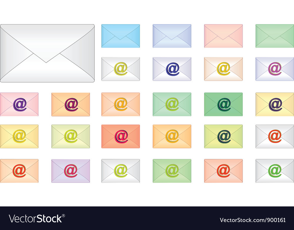 Color envelope icons vector | Price: 1 Credit (USD $1)