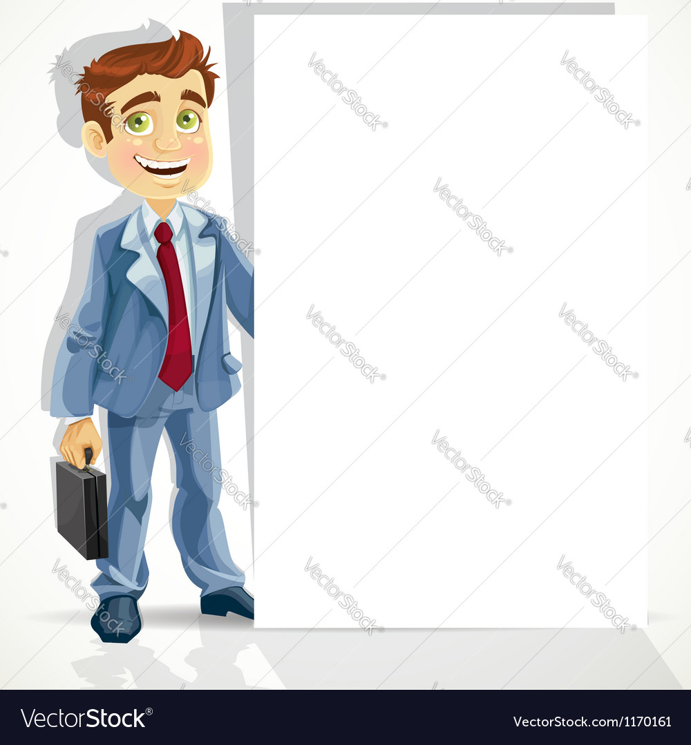 Cute businessman hold big blank banner vector | Price: 1 Credit (USD $1)