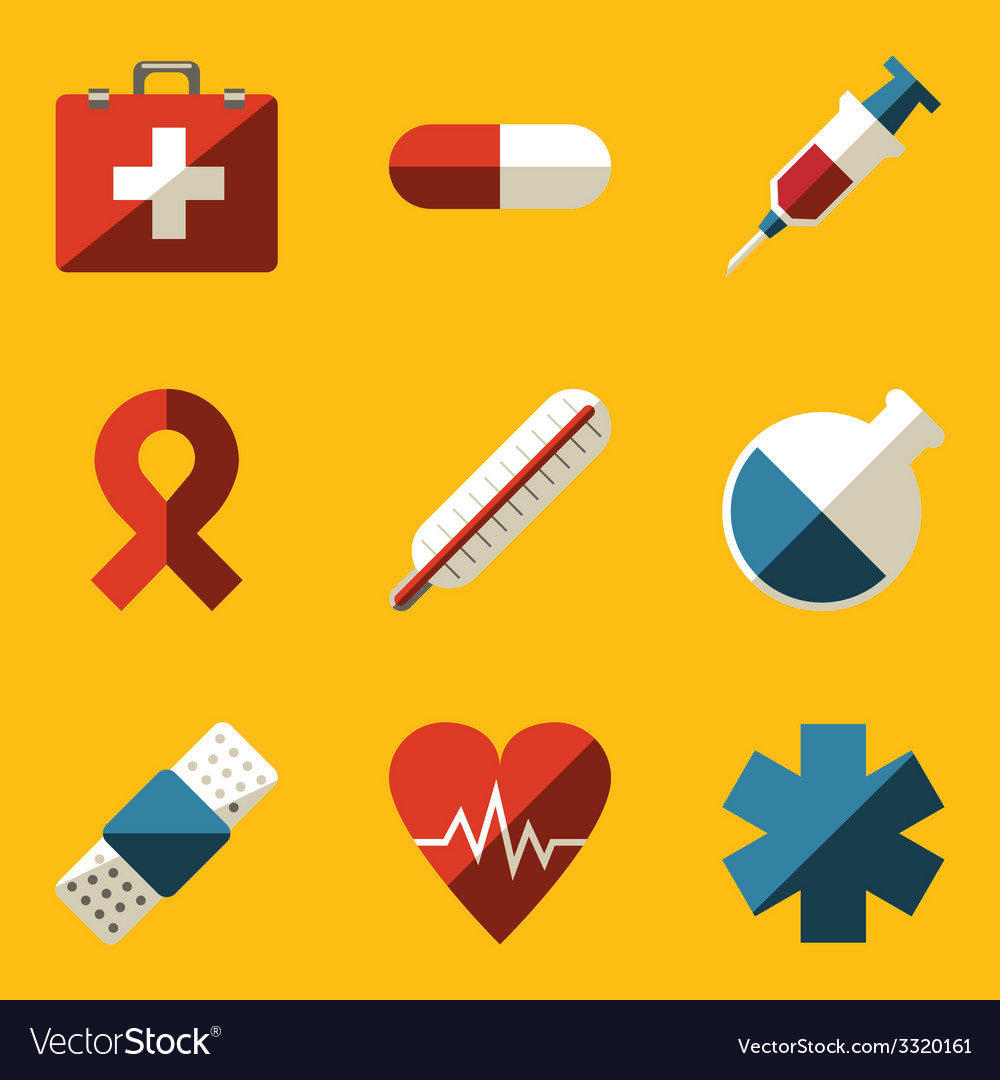 Flat icon set medical vector | Price: 1 Credit (USD $1)