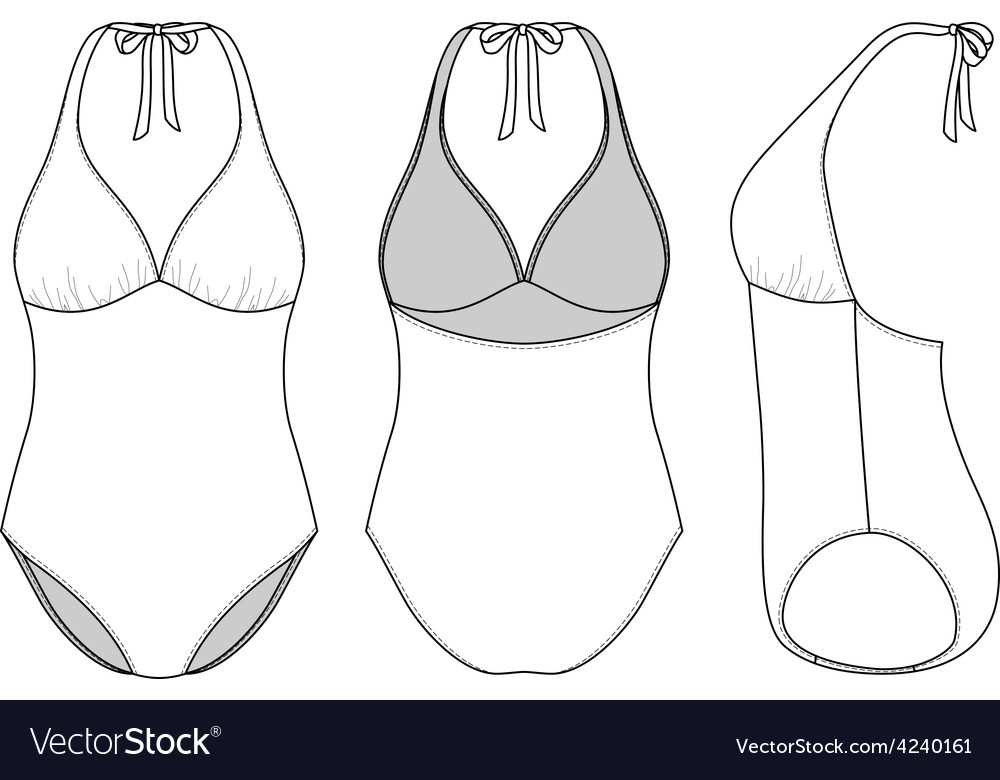 Front back and side views of blank swimsuit vector | Price: 1 Credit (USD $1)