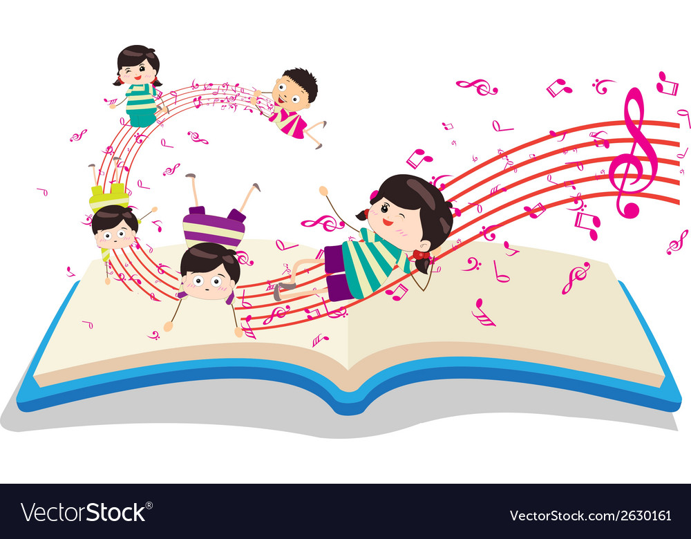 Happy music kids with book vector | Price: 1 Credit (USD $1)