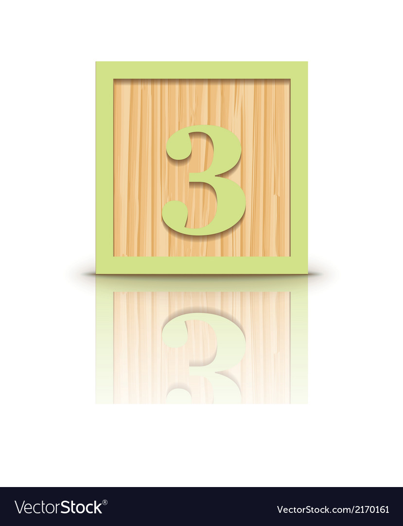 Number 3 wooden alphabet block vector | Price: 1 Credit (USD $1)