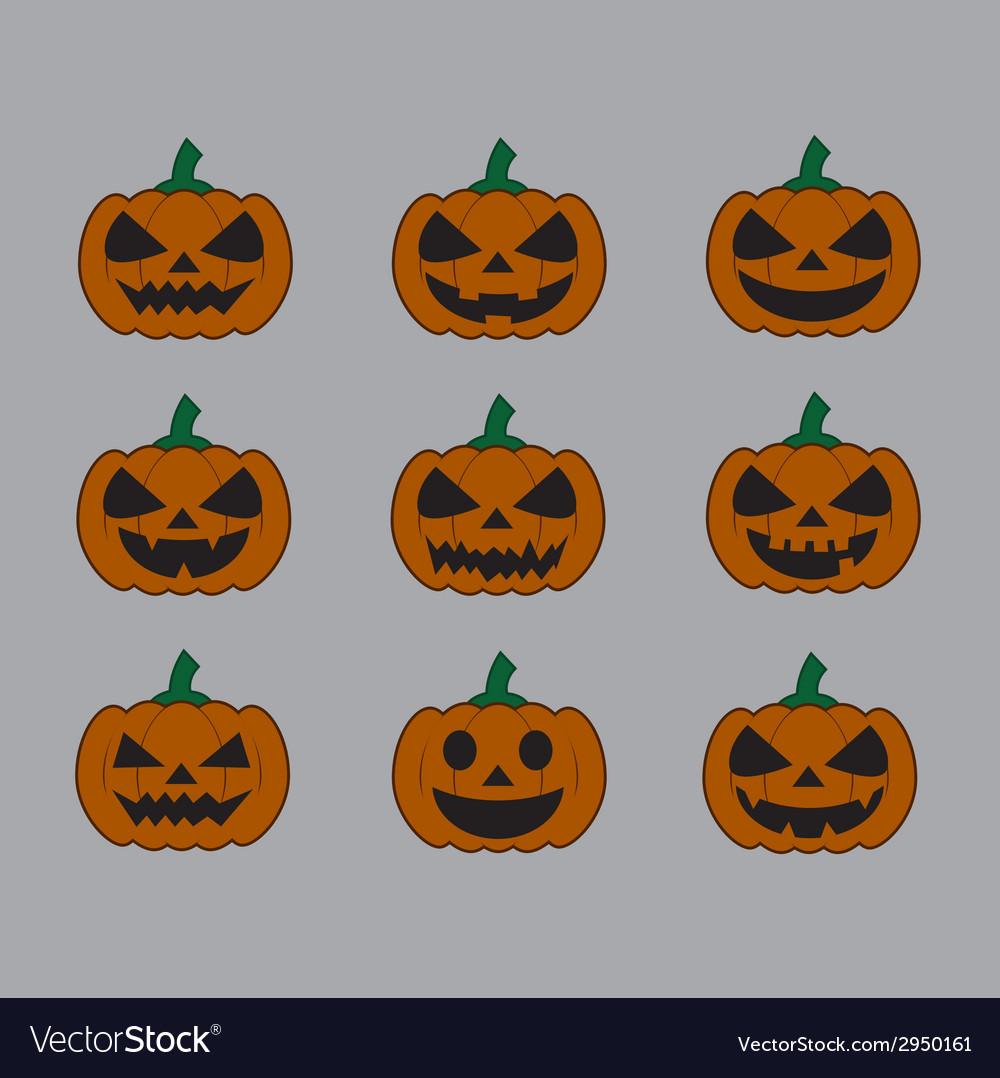 Pumpkins for halloween set vector   Price: 1 Credit (USD $1)
