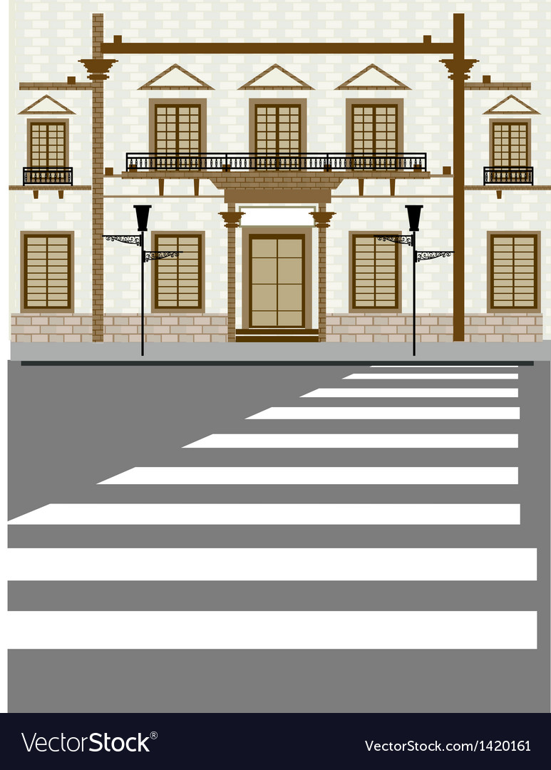 Street zebra crossing scene vector | Price: 1 Credit (USD $1)