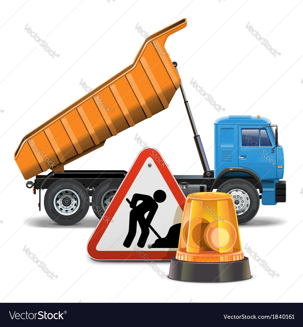 Tipper with sign and beacon vector | Price: 3 Credit (USD $3)